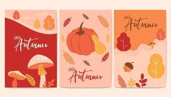 banners hello outono rústicos com elementos de outono vetor