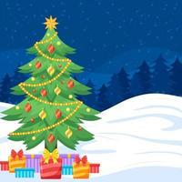 noite de neve com árvore de natal e presentes vetor