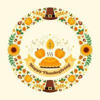 feliz dia de ação de graças coroa de flores vetor