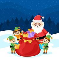 Papai Noel alegre prepara presentes de natal com seus ajudantes vetor
