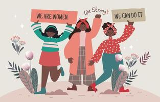 mulheres confiantes em apoiar a igualdade vetor