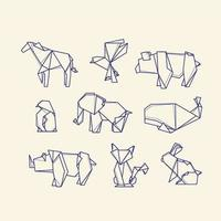 coleção de animais de papel dobrado vetor