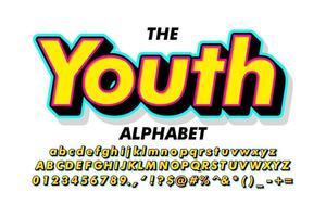 estilo alfabeto 3D em camadas de néon vetor