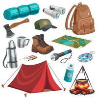conjunto de acampamento e escotismo cartoon