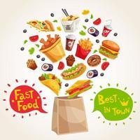 composição de fast food vetor