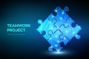 banner futurista de trabalho em equipe com elementos de quebra-cabeça vetor