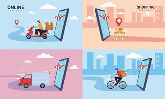 conjunto de ícones de entrega de serviço, transporte e logística