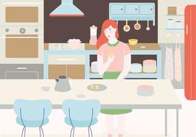 Ilustração da cozinha do vintage