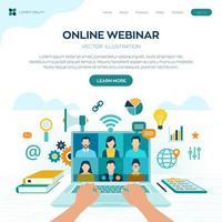 modelo de página inicial do site para webinar online vetor