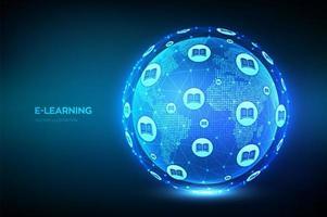 banner futurista de educação online e-learning vetor