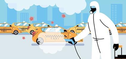 serviço de desinfecção de táxi de coronavírus ou covid 19 vetor