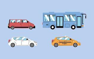 diferentes veículos de transporte, transporte urbano vetor