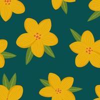 padrão sem emenda com flores e folhas vetor
