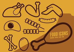 Jogo de dia Ícones do alimento vetor
