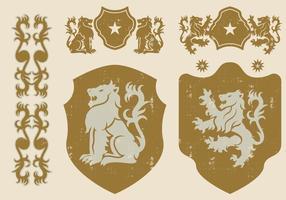 Ícones Leão heráldico vetor