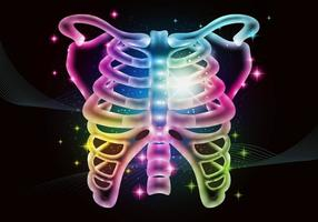 Fundo colorido Neon Ribcage vetor