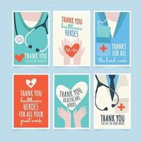 cartões de agradecimento para oficiais de saúde vetor