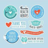 conjunto de adesivos de agradecimento para oficiais de saúde vetor
