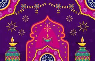 conceito de dia festivo de diwali vetor