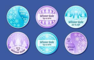 coleção de adesivos de venda de inverno em azul e roxo