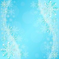 lindos flocos de neve de inverno na composição de ondas azuis vetor