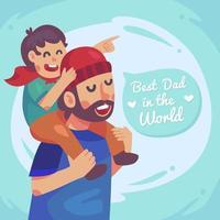 uma criança pega nas costas de seu pai vetor