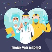 obrigado oficiais médicos vetor