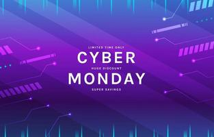 fundo cibernético futurista de segunda-feira vetor