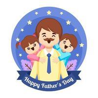 crianças alegres abraçam o pai vetor