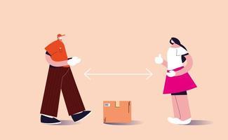 serviço de correio deixa o pacote a uma distância segura vetor