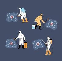 equipes de trabalho usam traje de proteção, desinfecção por coronavírus vetor