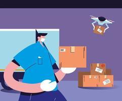 entregador com máscara carrega as caixas de papelão vetor