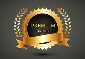 rótulo dourado de qualidade premium vetorial vetor