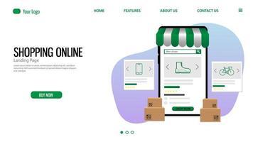 site de compras online e página de destino de comércio de aplicativos vetor