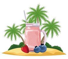fruta tropical e bebida batida vetor