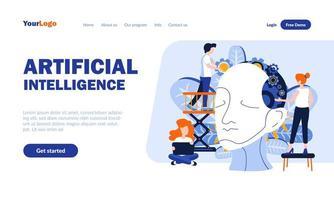 modelo de página de destino plana de inteligência artificial vetor