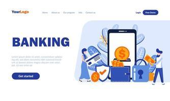 modelo de página de destino plana de banking vetor