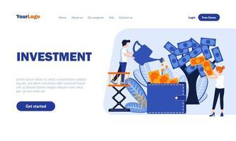 modelo de página de destino plana de investimento vetor