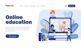 modelo de página de destino de educação online vetor
