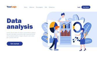 modelo de página de destino plana de análise de dados vetor