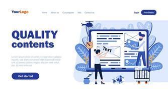 modelo de página de destino de conteúdo de qualidade vetor