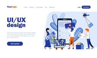 modelo de página de destino de design ui e ux vetor