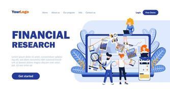 modelo de página de destino plana de pesquisa financeira vetor