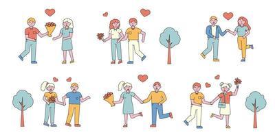 conjunto de design plano de casais românticos vetor