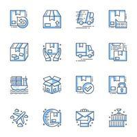 conjunto de ícones de arte de linha de pedido e entrega vetor