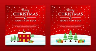 conjunto de mídia social de cenário de inverno de natal e ano novo