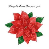 feliz natal e feliz ano novo aquarela flor de poinsétia vetor