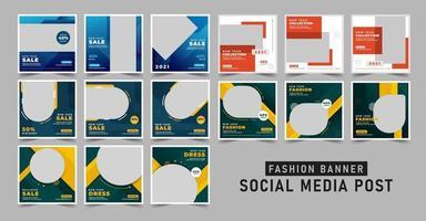 conjunto de modelo de postagem de banner de venda de compras em mídia social