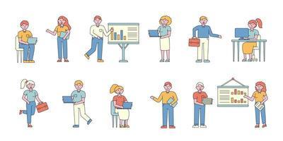 conjunto de design plano de empresários