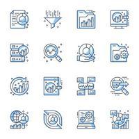 conjunto de ícones de arte de linha de análise de dados vetor